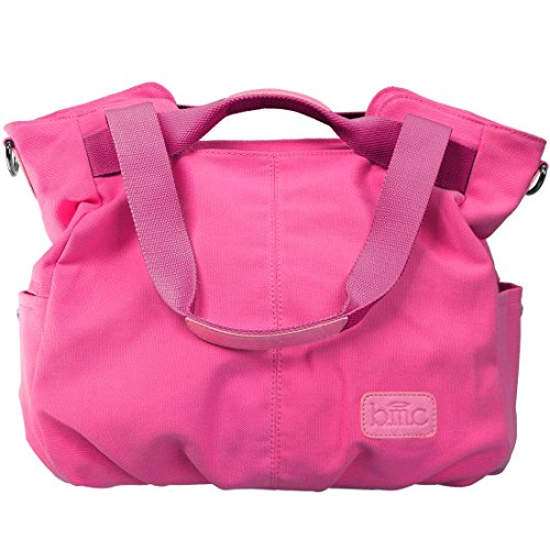 BMC Womens Fuchsia Pink Textured Canvas Double Top Handle Lightweight Shoulder Tote Travel Shopper Handbag