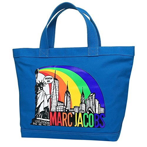 Marc Jacobs New York Print Cotton Zip Shopper Tote Bag