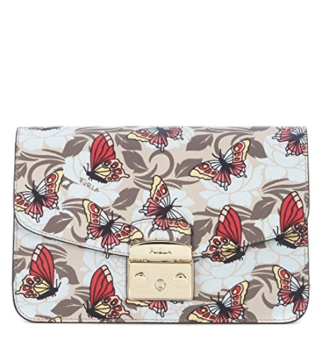 Furla Women's Furla Metropolis Shoulder Vanilla Leather Bag With Butterflies Multicolour