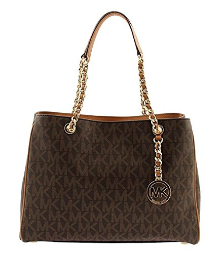 MICHAEL KORS Signature PVC Susannah Large Tote Satchel Chain in Brown