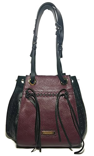 BCBG MAXAZRIA Burgundy Spice and Black Mikko Leather Handbag