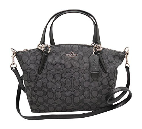 Coach F27582 Outline Signature Small Kelsey Crossbody Satchel Bag Black Smoke / Black