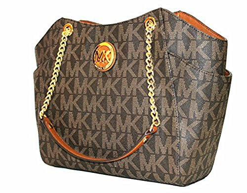 MICHAEL Michael Kors Women's Jet Set Travel Large Chain Shoulder Tote Printed Handbag (Brown/Acorn)