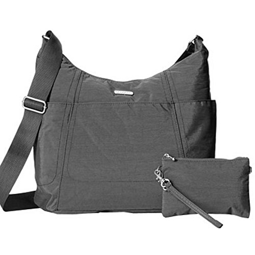 Baggallini Hobo Tote Handbag Functional Pockets Crossbody (Charcoal)
