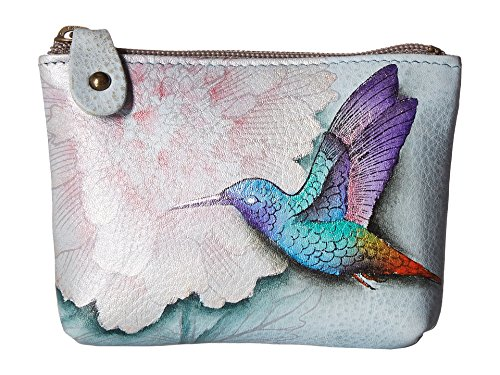 Anuschka Women's Hand Painted Leather Coin Pouch, Rainbow Birds