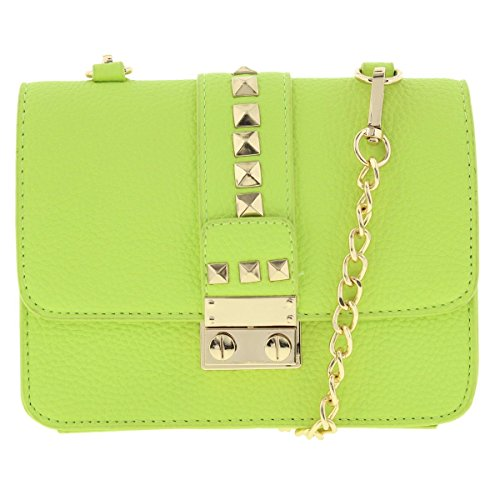 BCBG Paris Womens Caviar Faux Leather Mini Crossbody Handbag Green Small
