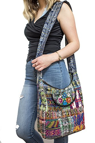 Boho Sling Embroided Hobo Messanger Medium Bag Women Handmaid Quilted Hippie Crossbody Unique Purse Sporty Laptop