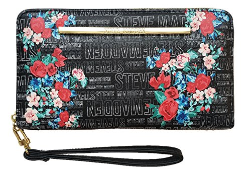 Steve Madden BZippf Zip-Around Wallet/Wristlet – Black Floral