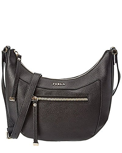 FURLA Ginevra Pebbled Leather Crossbody Bag (ONYX (Black))