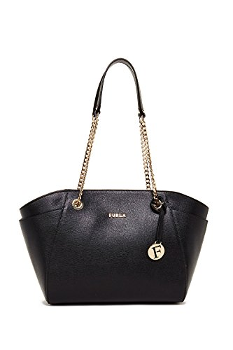 Furla Julia Saffiano Leather Chain Tote, Black