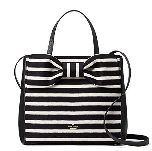 Kate Spade New York Olive Drive Stripe Brigette Leather Satchel Bag, Natural Black