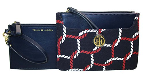 Tommy Hilfiger Wristlet Wallet 2 pc Canvas Navy Blue