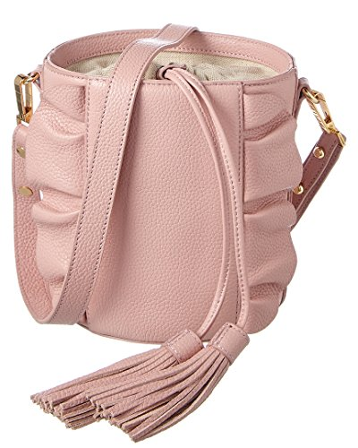 Milly Astor Ruffle Drawstring Leather Bucket Bag, Pink