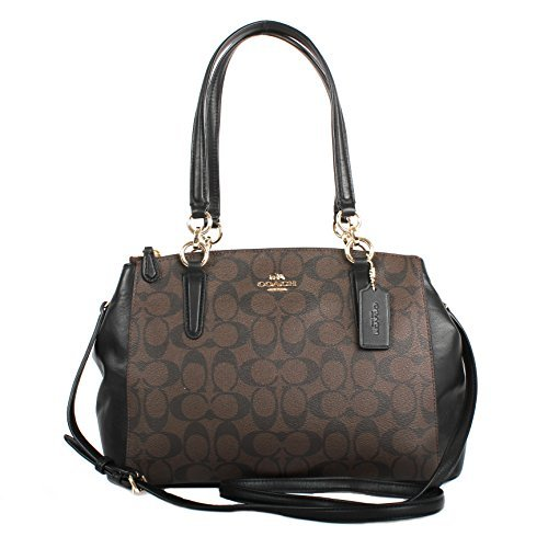 Coach Signature PVC Small Christie Carryall F58291 Brown/Black