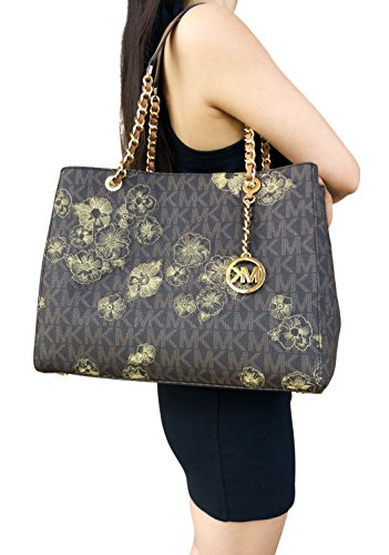 cac9e16b6337 Michael Kors Susannah Large East West Tote Brown MK Signature Floral