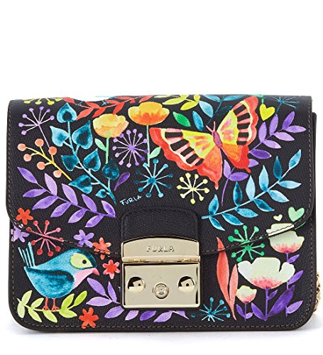 Furla Furla Metropolis Black Leather Shoulder Bag With Birds And Flowers. Black