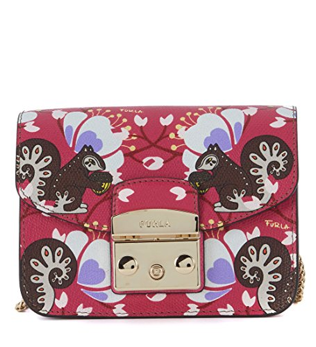 Furla Women's Furla Metropolis Mini Fuchsia Leather Shoulder Bag With Squirrels Fuchsia