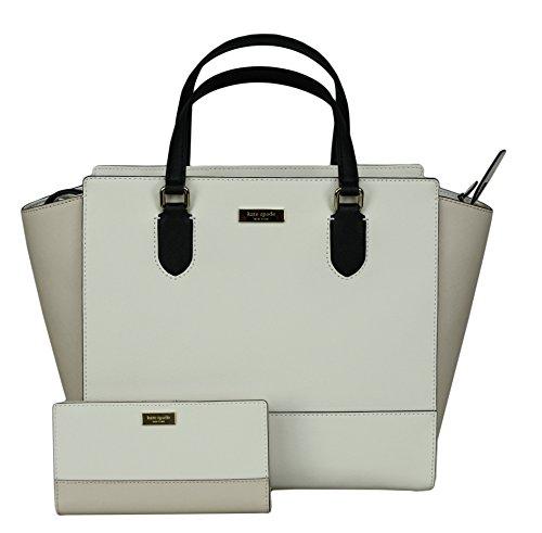 Kate Spade New York Women's Hadlee Laurel Way Tote Leather Handbag bundled with Stacy Laurel Way Wallet