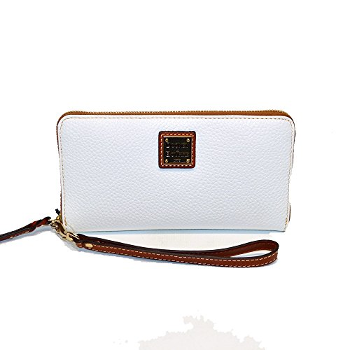 Dooney & Bourke LG Zip Wallet Phone Wristlet Pebble Leather White