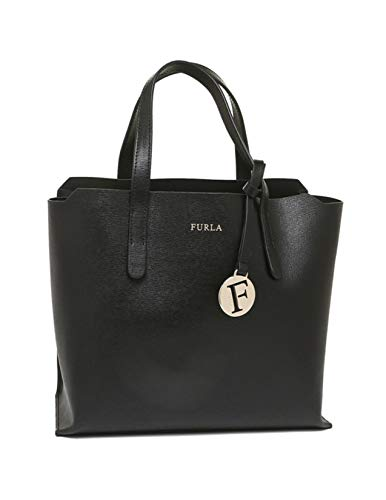Furla Sally S Saffiano Black Leather Tote