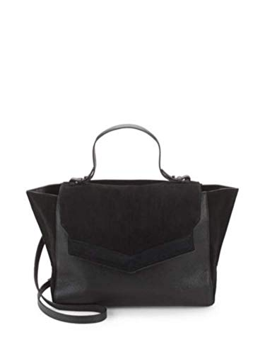 HALSTON HERITAGE Classic Leather and Suede Top Handle Shoulder Bag, Black