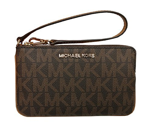 Michael Kors Jet Set Travel Large TZ Wristlet Brown Acorn