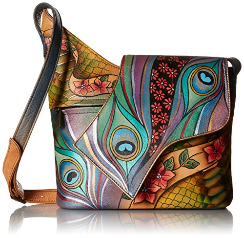 Anuschka Women's Genuine Leather Shoulder Bag | Hand painted Original Artwork | Asymmetric Flap Cross Body | Dancing Peacock