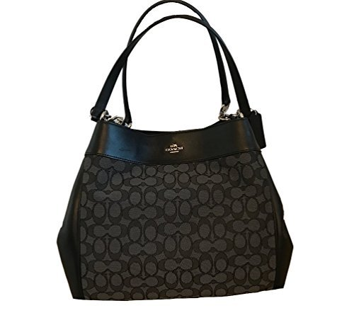 COACH Lexy Shoulder Bag in Outline Signature khaki/chalk F57612 (Smoke/Black)