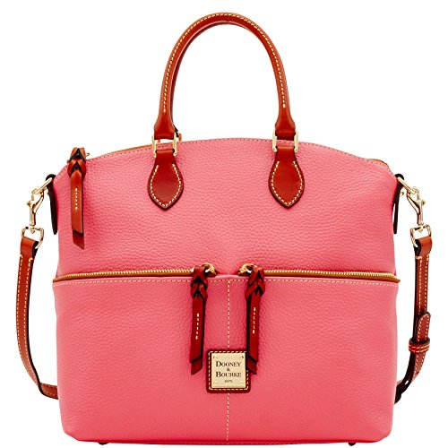 Dooney & Bourke Pebble Leather Double Pocket Satchel Bubble Gum