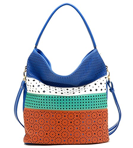 Tosca Perforated Color Block Large Hobo w/Strap- Multi Blue