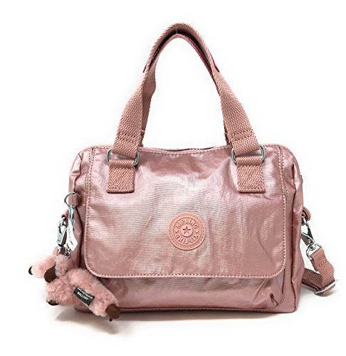 Kipling Zeva Convertable Crossbody Handbag Icy Rose Metallic
