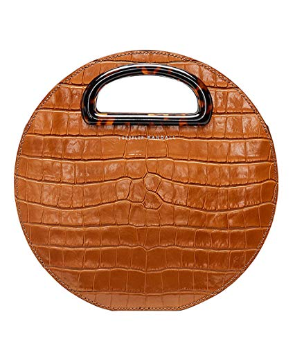 Loeffler Randall Crocodile-Embossed Leather Indy Circle Crossbody Handbag in Nutmeg Brown