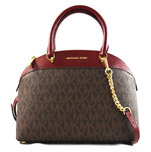 Michael Kors EMMY Womens Shoulder Handbag LARGE DOME SATCHEL (Brown/Cherry) 6997