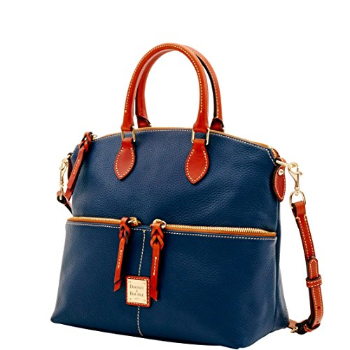 Dooney & Bourke Pebble Grain Double Pocket Satchel Midnight Blue