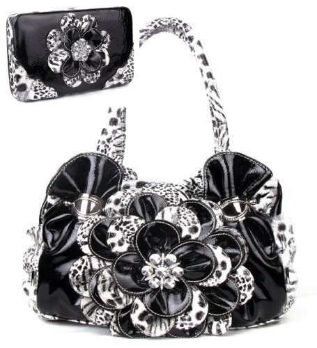Black Leopard Flower Rhinestone Fashion Handbag W Matching Wallet
