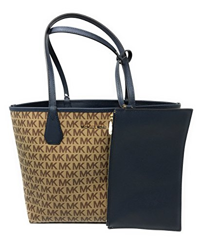 Michael Kors Candy LG Reversible PVC Signature Tote in Beige/Ebony/Navy