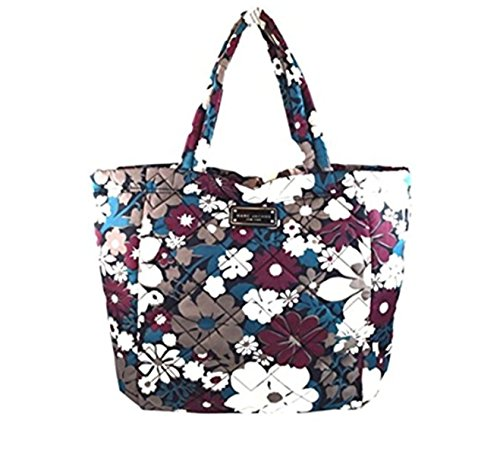 Marc Jacobs Floral Quilted Nylon Tote Bag, Burgundy/Grey