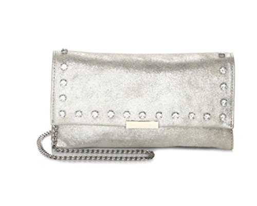 Loeffler Randall Embellished Silver Metallic Leather Tab Clutch Crossbody Bag