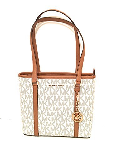 Michael Kors SADY Small N/S Top Zip Tote Bag Vanilla PVC 0691