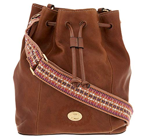 Tignanello Milan Drawstring Cross Body W/RFID Protection, Walnut/Cognac