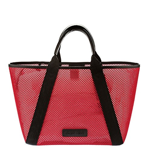 ARMANI JEANS Open hand shopping bag with transparent lining in openwork fabric RED 922191