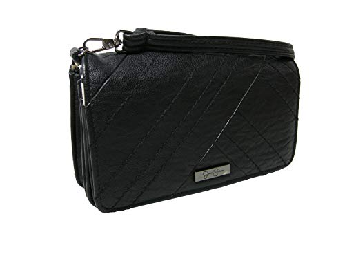 New Jessica Simpson Logo Wristlet Wallet Purse Hand Bag Black Phone Case Genesa