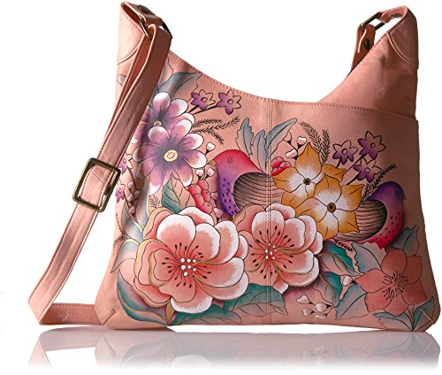Anna By Anuschka Hand Painted Leather Multicompartment Tote Vintage Garden