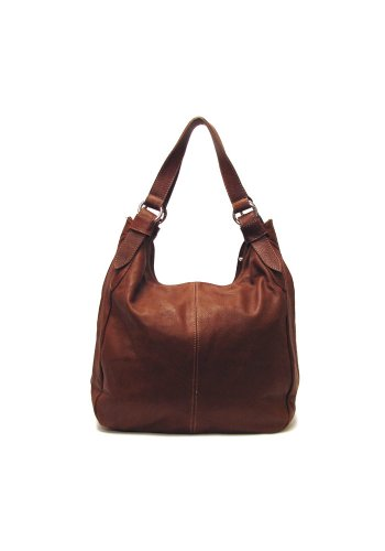 Siena Leather Hobo Shoulder Bag in Brown