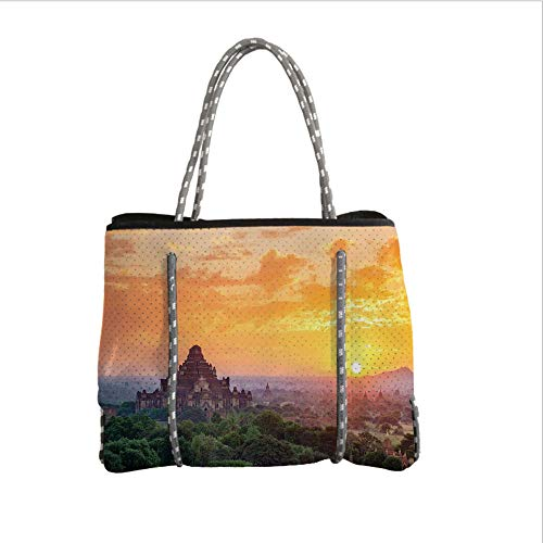 iPrint Neoprene Multipurpose Beach Bag Tote Bags,Asian,Aerial View of Famous Asian Temple on Top of The Mountain Horizon Mystery Scenery,Orange Green,Women Casual Handbag Tote Bags