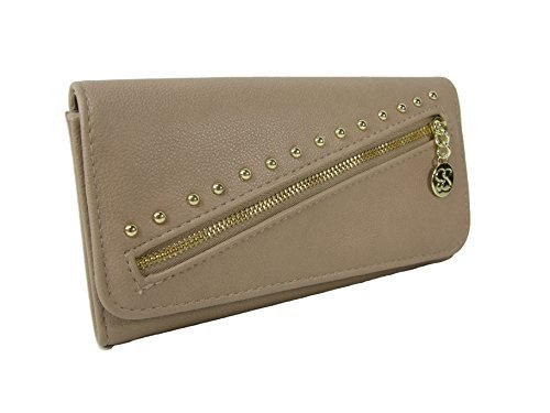 New Jessica Simpson Logo Wallet Purse Hand Bag Natural Tan Zelly Gold Clutch