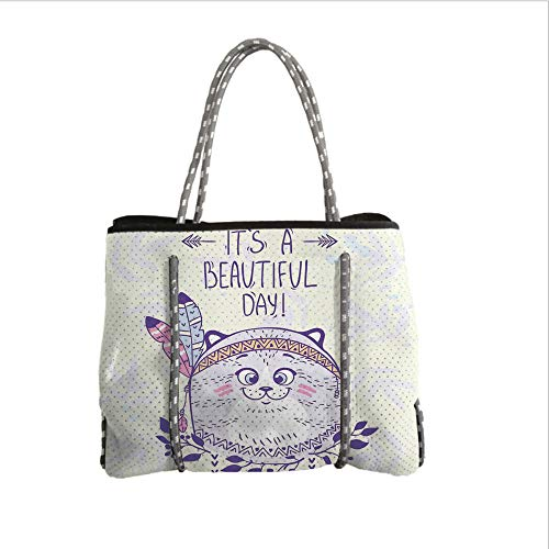 iPrint Neoprene Multipurpose Beach Bag Tote Bags,Cat,Stylish Native American Indian Hippie Cat with Ethnic Tribal Feathers Artsy Cartoon,Purple Cream,Women Casual Handbag Tote Bags