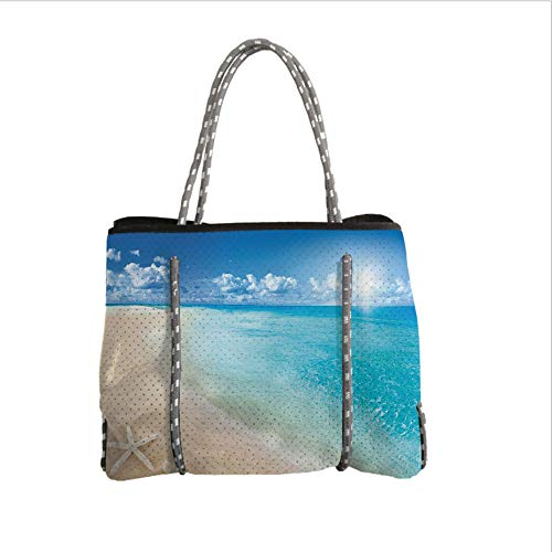 iPrint Neoprene Multipurpose Beach Bag Tote Bags,Beach,Sunny Summer Seashore with Clear Sky Seashells Starfish Clouds Aquatic Picture,Aqua Cream Blue,Women Casual Handbag Tote Bags