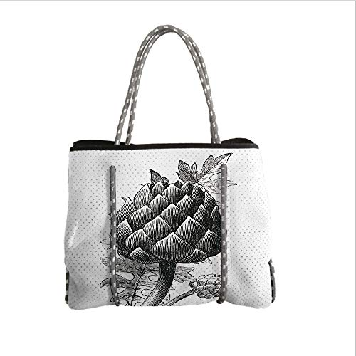 Neoprene Multipurpose Beach Bag Tote Bags,Artichoke,Black and White Artichoke Bud Drawn by Hand Sketch Food Grocery Art Print,Black and White,Women Casual Handbag Tote Bags