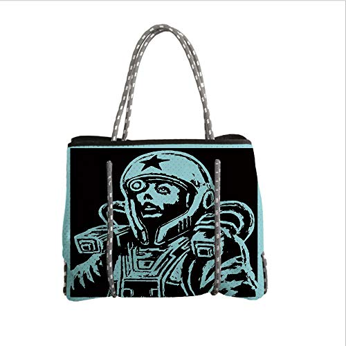 Neoprene Multipurpose Beach Bag Tote Bags,Astronaut,Female Astronaut Space Woman Science Fiction Theme Hand Made Drawing Space Galaxy Decorative,Teal Black,Women Casual Handbag Tote Bags